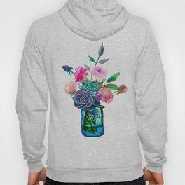 Watercolor flowers in mason jar Hoody