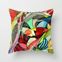 karma Throw Pillows featuring karma by sylvie demers