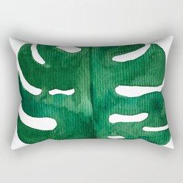 Tropical Monstera Green Leaf Rectangular Pillow