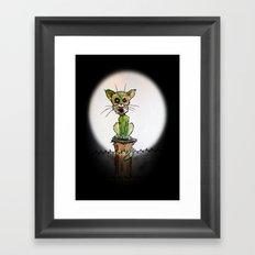 full moon zombie cat Framed Art Print