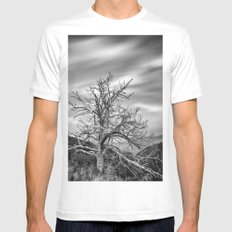 Old Mountain Tree under the stars White Mens Fitted Tee MEDIUM