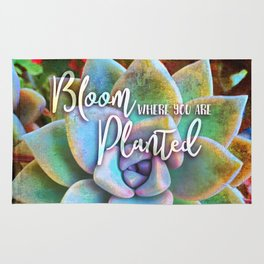"""Bloom where you are planted"" mint green & turquoise cactus close-up photo Rug"