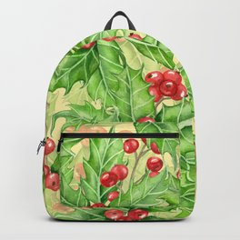 Holly berry watercolor Christmas pattern Backpack
