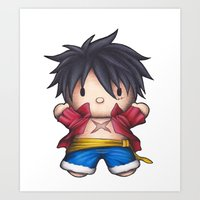 luffy Art Prints featuring Hello Luffy by ADCArtAttack