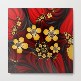 Yellow Fantasy Flowers On Red And Black Metal Print