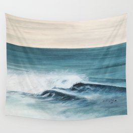 Surfing big waves Wall Tapestry