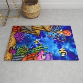 Under the sea collage Rug