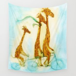Family of giraffes rides a bicycle-tandem Wall Tapestry