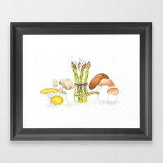 asparagus and mushrooms Framed Art Print