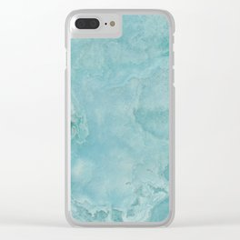 Turquoise Sea Marble Clear iPhone Case