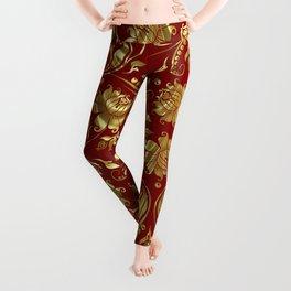 Dark Red & Gold Floral Damasks Pattern Leggings