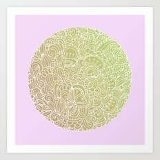 Detailed circle, gold rose Art Print