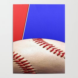 Baseball Sports on Blue and Red Poster