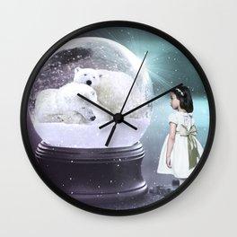 Snow Globe Bear Wall Clock