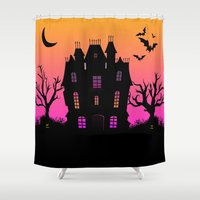 haunted mansion Shower Curtains featuring Haunted Silhouette Rainbow Mansion by rainbowdreams