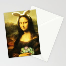 Easter Mona Lisa with Bunny Ears and Colored Eggs Stationery Cards