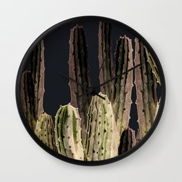 Cactus at Night Wall Clock