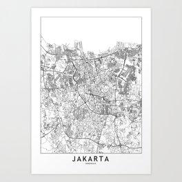 Jakarta White Map Art Print