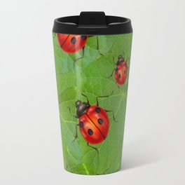 RED LADY BUGS ON GREEN LEAVES DESIGN ART Travel Mug