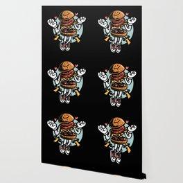Yummy cartoon burger in love jumping high hearts Wallpaper