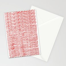 Red Wavy Chevrons Stationery Cards