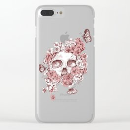 Flower Skull Clear iPhone Case