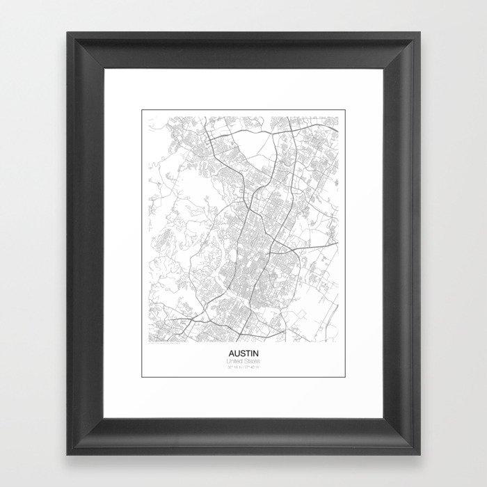 Austin, Texas Minimalist Map Framed Art Print by resfeber   Society6