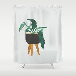 mid century modern house plant boho pot stand Shower Curtain