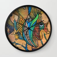 mermaids Wall Clocks featuring Mermaids by Valerie Parisius