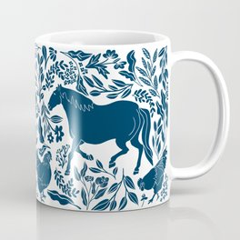 Modern Folk Art Horse Illustration with Botanicals and Chickens Coffee Mug