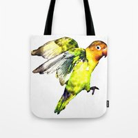 parrot Tote Bags featuring Parrot by cmphotography