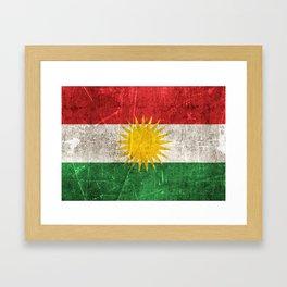 Vintage Aged and Scratched Kurdish Flag Framed Art Print