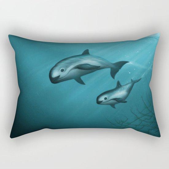 Treacherous Waters - Vaquita Porpoise Art, Original Digital Painting by Amber Marine, (c) 2015 Rectangular Pillow
