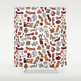 Squirrels in Fall Doodle Shower Curtain