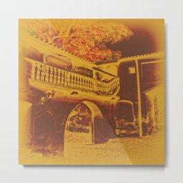 Old Village on Texture Metal Print