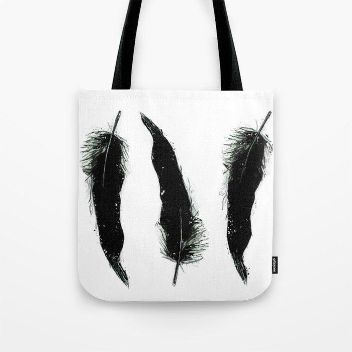 Three Black Feathers Tote Bag