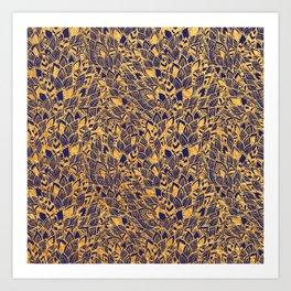 Golden Floral Art Print