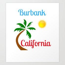 Burbank California Palm Tree and Sun Art Print