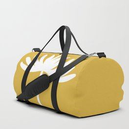 Tall Flower Minimalist Floral in White and Light Mustard Duffle Bag
