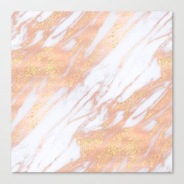 Marble - Rose Gold with Yellow Gold Glitter Shimmery Marble Canvas Print