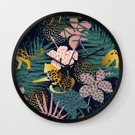 Exotic Golden Jungle Leopard & Pink Palm Leaf Geometric Pattern Wall Clock