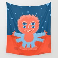 furry Wall Tapestries featuring Focussian Furry Alien by Boriana Giormova