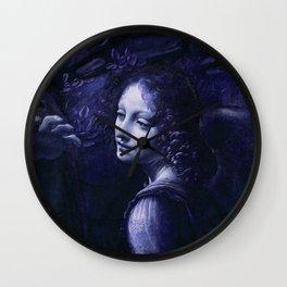 """Leonardo da Vinci Angel in """"The Virgin of the Rocks (London)"""" (blue) Wall Clock"""