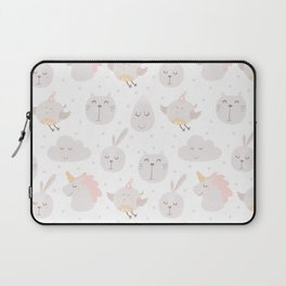 Pastel pink gray cute magical funny unicorn animals Laptop Sleeve
