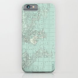 Vintage World Map in Soft Teal iPhone Case