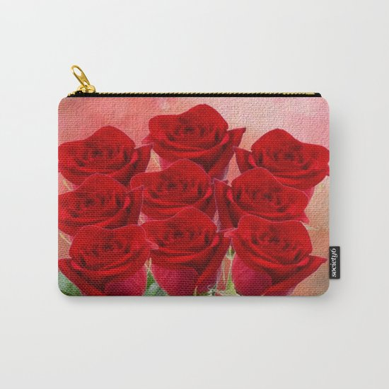 Forever My Love - Red Roses With Hearts Carry-All Pouch