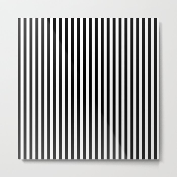 Black & White Stripe Metal Print