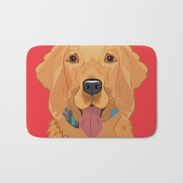 Golden Retriever Art Poster Dog Icon Series by Artist A.Ramos. Designed in Bold Colors. Bath Mat