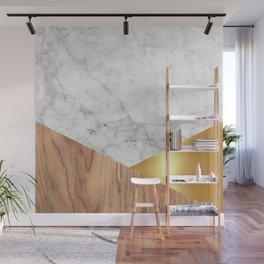 Geometric White Marble - Wood & Gold #884 Wall Mural