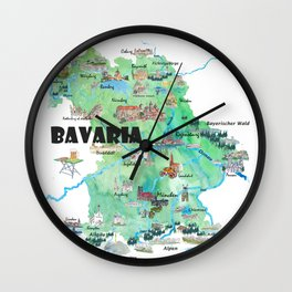 Bavaria Germany Illustrated Travel Poster Map Wall Clock